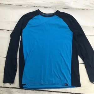 Patagonia blue and navy long sleeve base layer